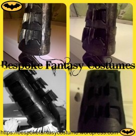 Gauntlet detail - from the Batman TDK battle worn custom-made build. Build and photographs by Bespoke Fantasy Costumes. Copyright of Bespoke Fantasy Costumes, 2016.