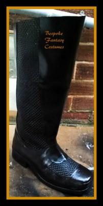 #1 Bespoke, hand-made Batman boots in progress. Made by Mr.Bespoke of Bespoke Fantasy Costumes. Photography by Bespoke Fantasy Costumes, copyright 2016.