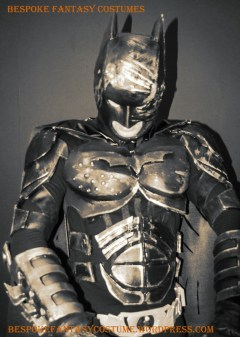 'Batman caught in the headlights.' Batman TDK battle worn custom made look. Costume by Bespoke Fantasy Costumes. Photography and edit by Rose-Sky Journey Pieces. Copyright 2016.