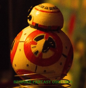 BB8 model, side view. 3D printed and painted by Bespoke Fantasy Costumes. 2016.