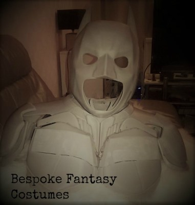 3D printed Batman costume update. Showing mask, shoulders, neck, chest so far. Designed and printed by Bespoke Fantasy Costumes. Photography by Bespoke Fantasy Costumes, 2017.