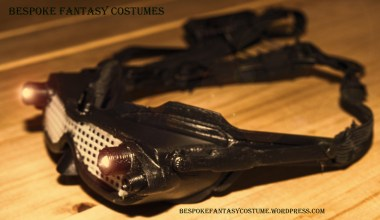 Catwoman mask, image 4. Design altered, 3d printed, and constructed by Bespoke Fantasy Costumes. Photography by Rose-Sky Journey Pieces. 2017.