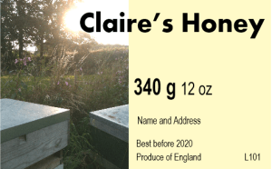 Claire's honey label
