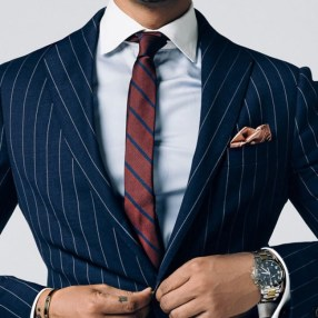 Custom navy pinstripe suit