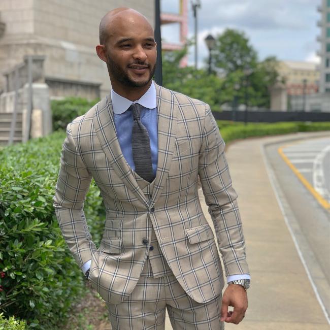 custom tan windowpane 3 piece suit