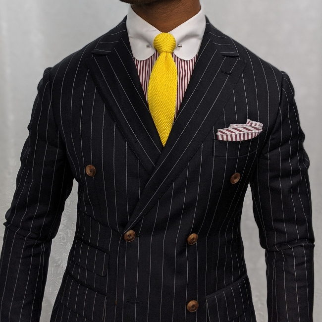 custom grey pinstripe double breasted suit