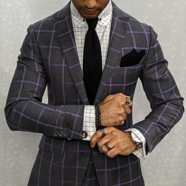 custom grey & lavender windowpane suit