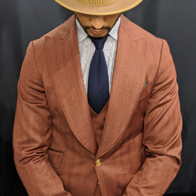 red herringbone 3 piece with sweeping lapel