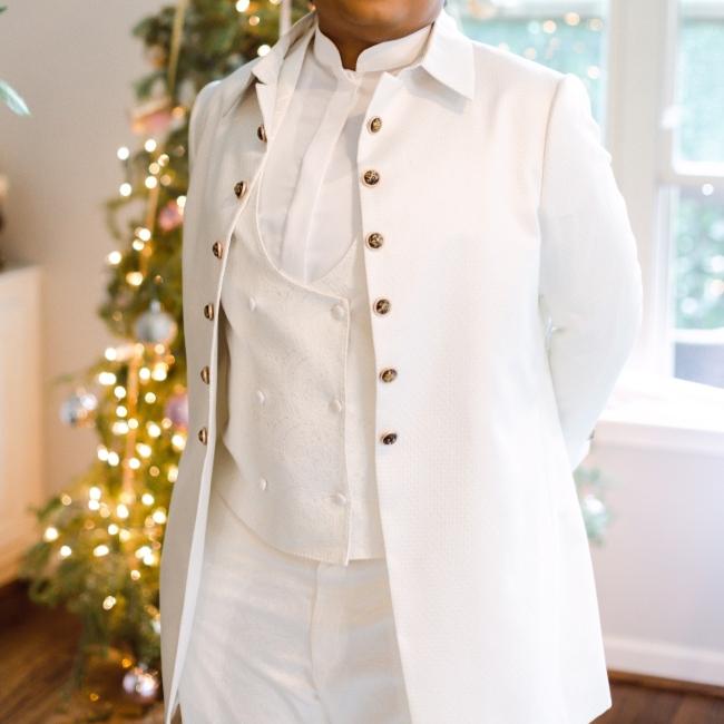 Custom made Ivory and Burgundy Tuxedo Jacket