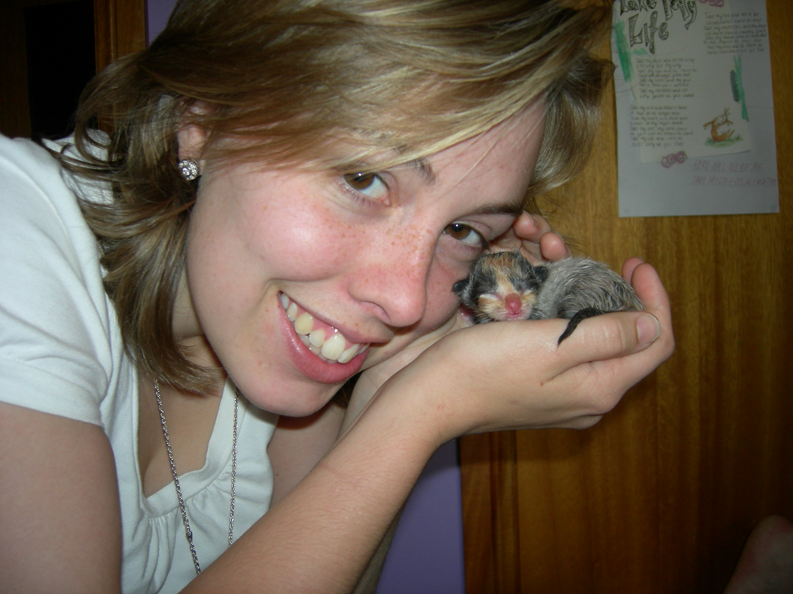 Me and the new born kitten not even an hour old!
