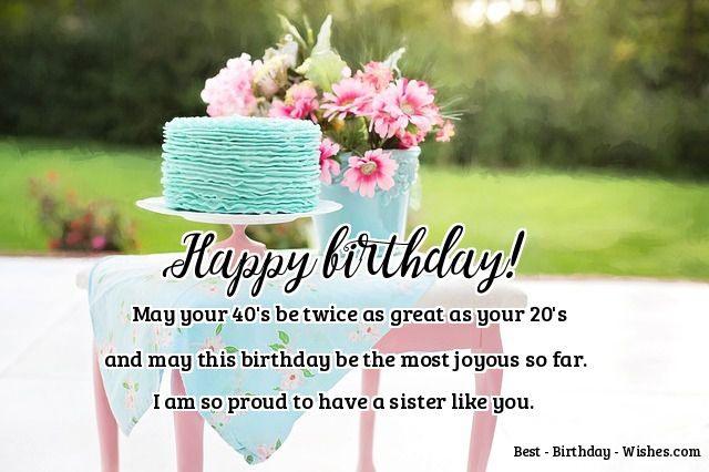 40th Birthday Wishes Fo Sister