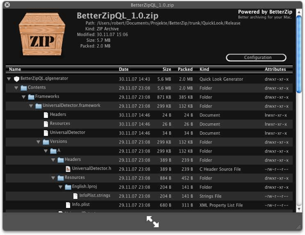 BetterZipQL screenshot