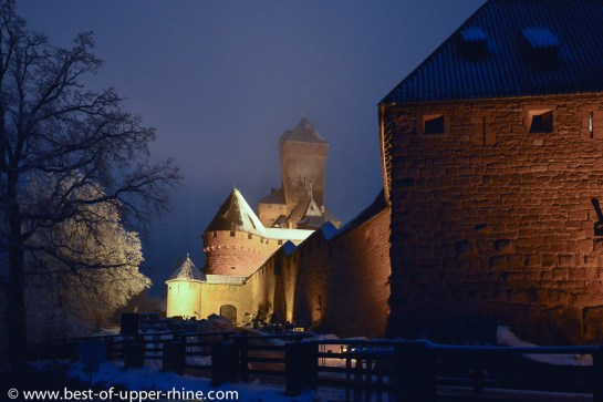 The Haut-Koenigsbourg castle in Alsace, in the dark.