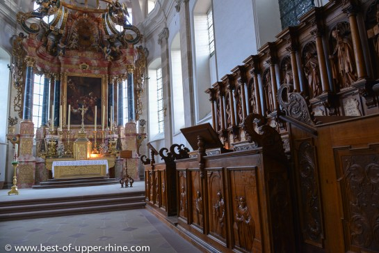 Interior of Abbey church of Ebersmunster - the choir