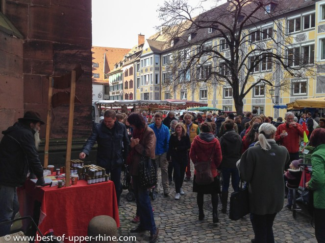 Saturday market near the cathedral in Freiburg