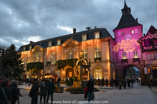 Christmas lights and market in the romanesque city of Rosheim, Alsace
