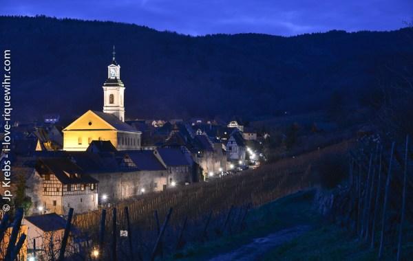 Riquewihr seen at dusk from the Schoenenbourg vineyard.