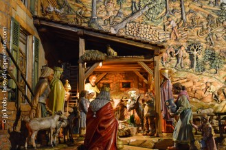 Nativity scene in Thannenkirch, Alsace. Wood carving and sculpture masterpiece.