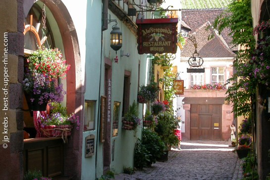 La Grappe d'Or restaurant in a charming street in the lower part of Riquewihr