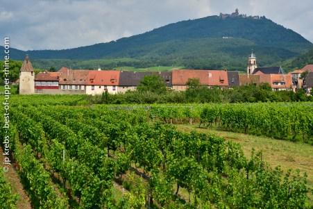 The village of Saint-Hippolyte and the Haut-Koenigsbourg castle
