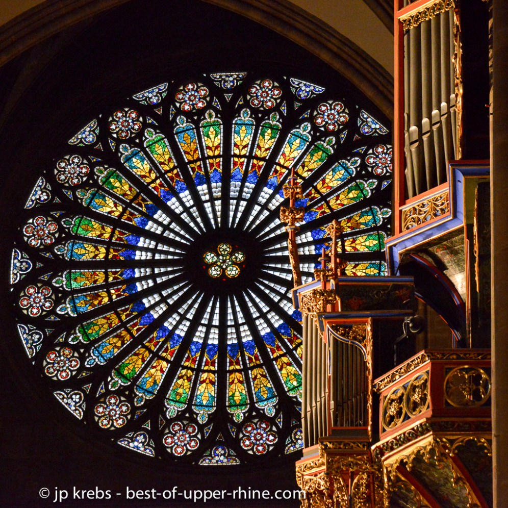 The stained-glass rosace has a diameter of 12 meters. Cathedral of Strasbourg.