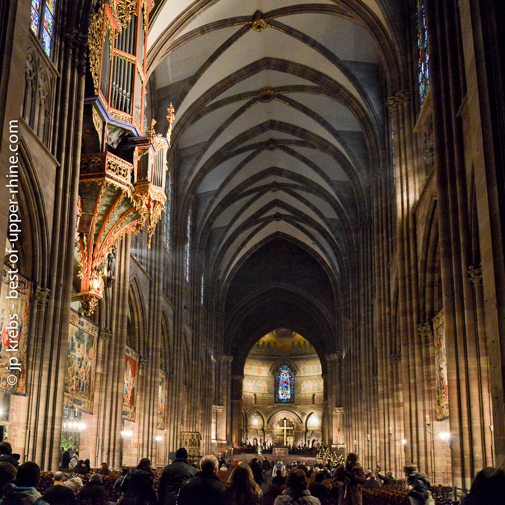 Inside the cathedral Notre Dame in Strasbourg