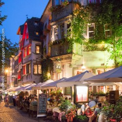 Traditional Alsatian restaurants near the cathedral of Strasbourg.