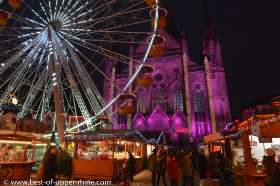 A wonderful Alsatian Christmas market beautifully decorated in the heart of the historic center of Mulhouse, Alsace.