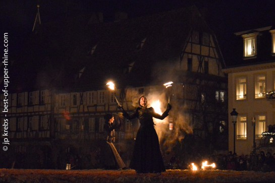 A spectacular show ends the Night Parade of Hans Trapp and Christkindel in Wissembourg, Alsace.