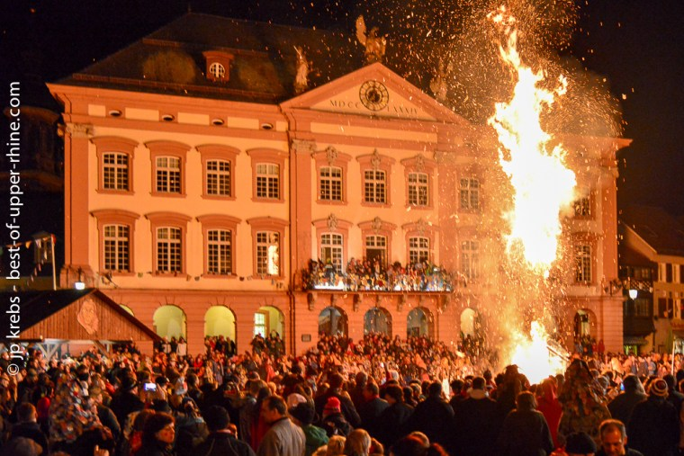 Fat Tuesday in Gengenbach, Germany. <br />At dusk the brooms of the witches are burned in front of the city hall.