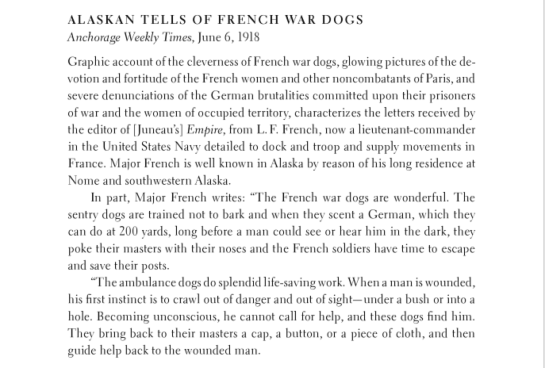 The Anchorage Weekly Times report about French war dogs 6JUN1918