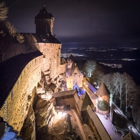Haut-Koenigsbourg at night in the Winter.