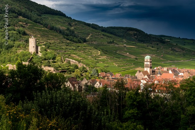 Kaysersberg and the steep vineyards of the famous Schlossberg.