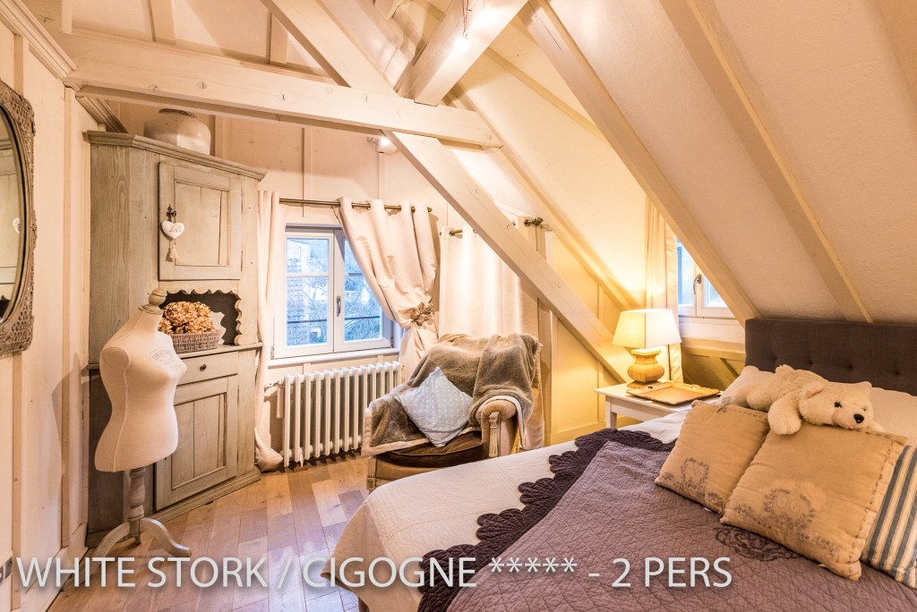 The bedroom of the White Stork, spectacular and romantic loft apartment with terrace in Riquewihr in Alsace on the Alsace Wine Route!