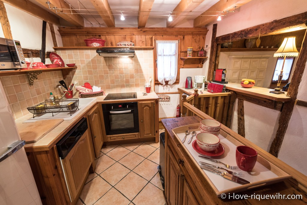 The kitchen of the Dove's Nest in Riquewihr, with a real oven, dish machine, washing machine, Nespresso etc.