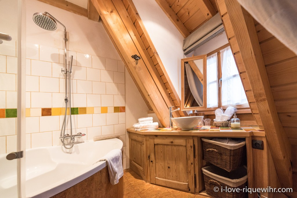 The en suite bathroom of the Dove's Nest in Riquewihr, one of the most beautiful, charming and comfortable places available for holiday rental in Alsace on the Alsace Wine Route!