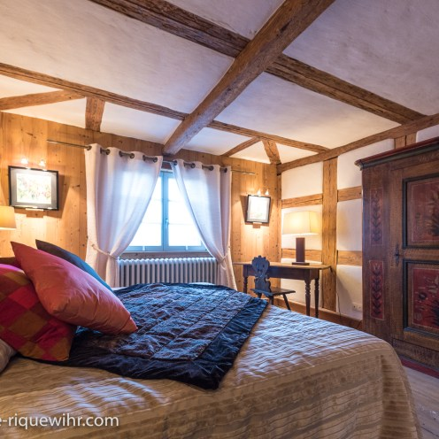 The bedroom of the Lucky Dragon, Luxury Family Gite on the Alsace Wine Route in Riquewihr, ideal for a family of 2 adults + children.