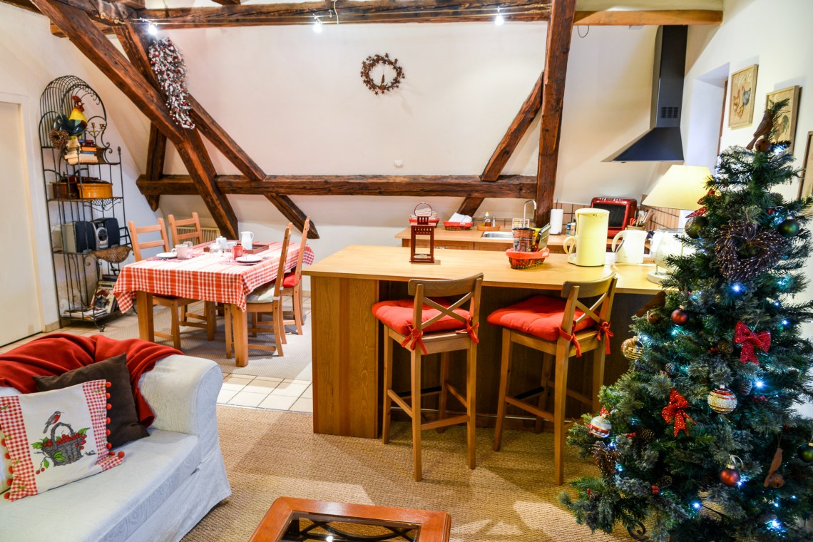 The main room of the Klevner, charming holiday apartment in Riquewihr on the Alsace Wine Route, ideal for a family of 2 adults + 1 child.
