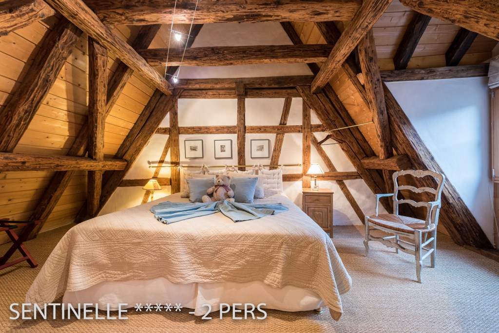 The bedroom of the Sentinel, charming holiday apartment for 2 persons in Riquewihr