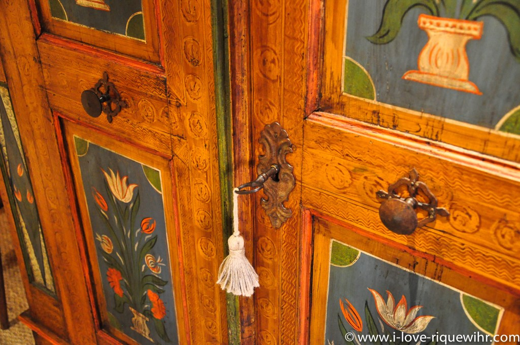 Old Alsatian cabinet in the Riesling bedroom in Riquewihr, beautiful and charming apartment for 2-4 adults is located in the medieval heart of Riquewihr in Riquewihr Alsace