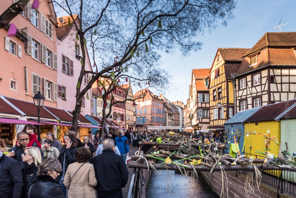 Easter market in Colmar, place of the former Customs and along the Lauch ...