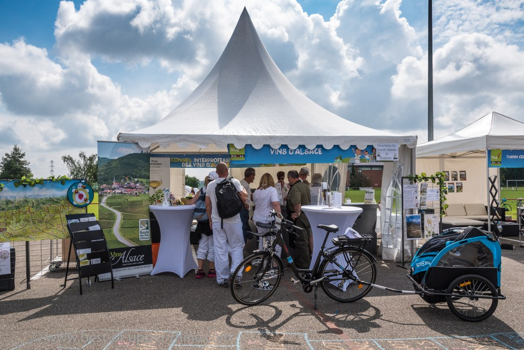 Slow Up Alsace. the stand of the CIVA (Inter-Professional Alsace Wine Committee) at the starting village in Bergheim.