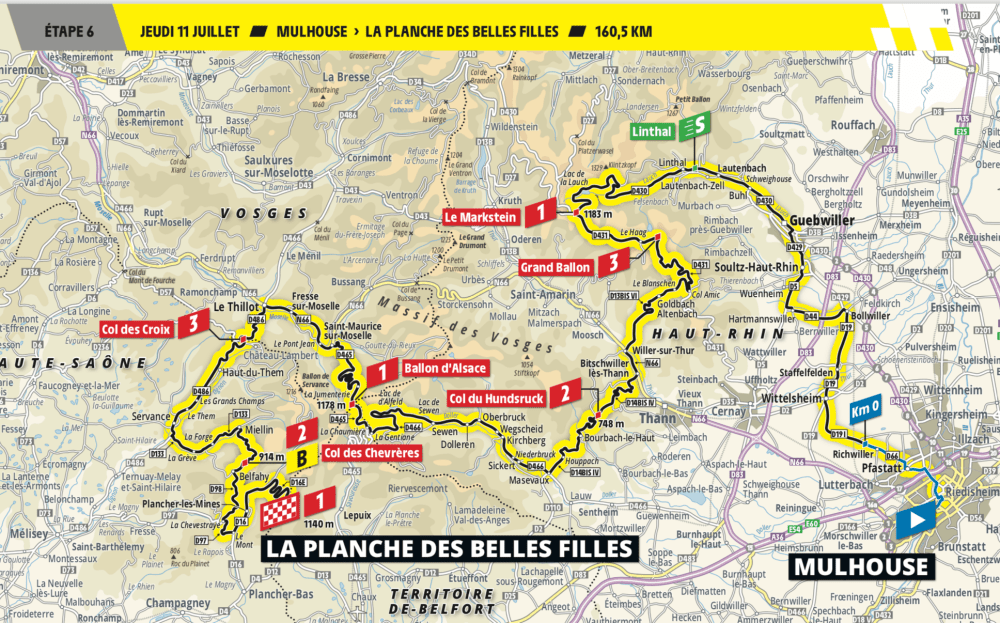 Tour de France on 11th July is climbing in the Vosges south Alsace.