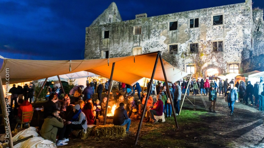 Enjoy the heat of the fire in front of the castle of Burkheim a charming village just across the border.