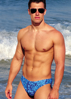 mens tan through swimwear