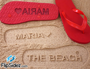 FlipSidez sand print flip flops personalized