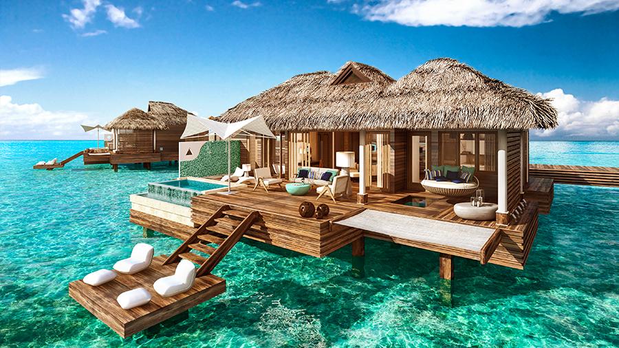 overwater bungalows at sandals royal caribbean jamaica