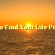 How to Find Your Life Purpose