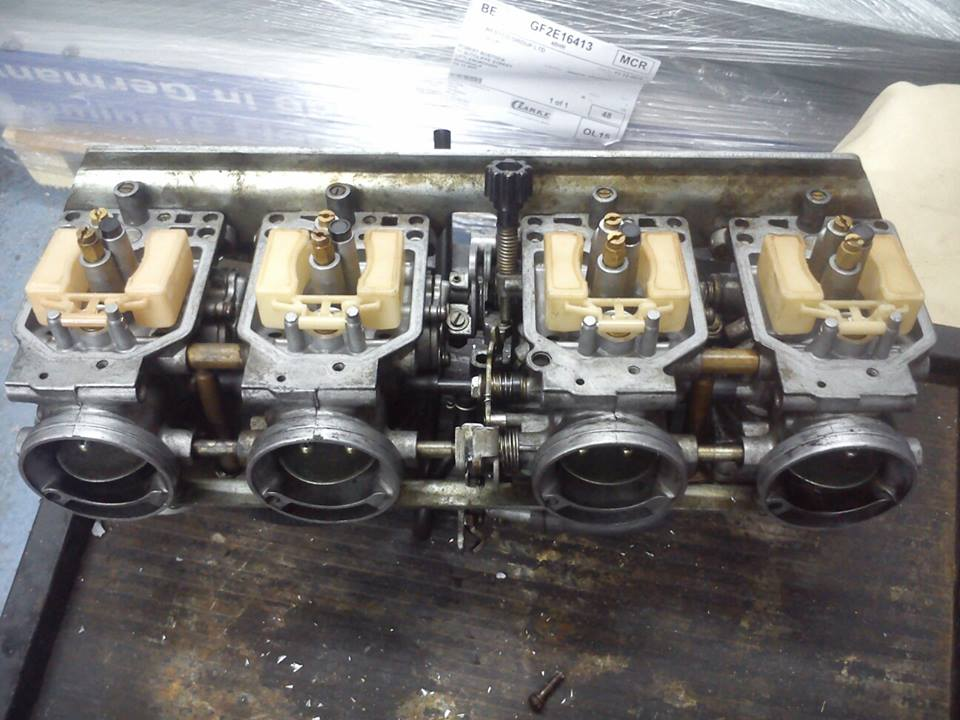 bank of carburettors after ultrasonic cleaning