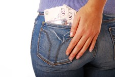 £20 note sticking out of a rear jeans pocket
